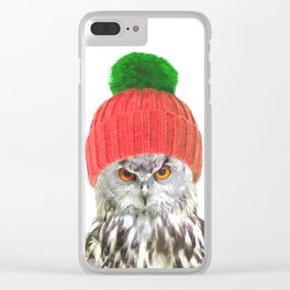Owl with cap winter holidays Clear iPhone Case