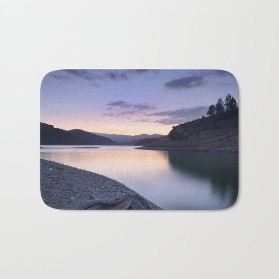 """""""Mountain light"""". Blue sunset II. Bath Mat"""