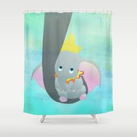 dumbo Shower Curtains featuring dumbo and his mom by studiomarshallarts