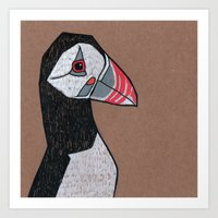 puffin Art Prints featuring Puffin by Bizarre Bunny