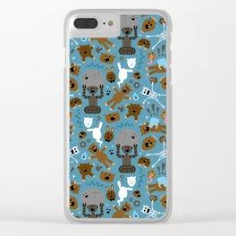 Crazy MonkeyTeddyBears Pattern Clear iPhone Case