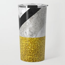 No First, No Last - metal geometric art, grey marble gradient and golden shimmer Travel Mug