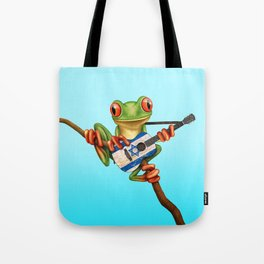 Tree Frog Playing Acoustic Guitar with Flag of Israel Tote Bag