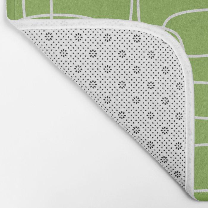 Square Pattern Greenery Bath Mat