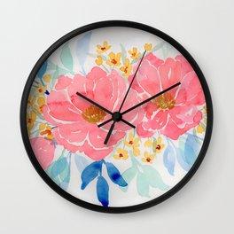 Pink loose floral watercolor painting Wall Clock