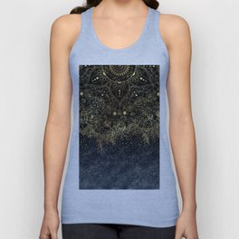 Stylish Gold floral mandala and confetti Unisex Tank Top