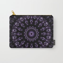 Kaleidoscope crystals mandala in ultra violet on black Carry-All Pouch