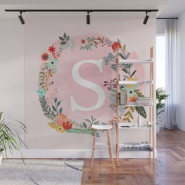 Flower Wreath with Personalized Monogram Initial Letter S on Pink Watercolor Paper Texture Artwork Wall Mural