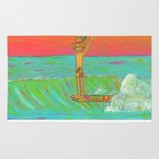 Hang 10 Retro Surf Dude Longboard Surf Rug