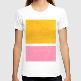 Pastel Yellow Pink Rothko Minimalist Mid Century Abstract Color Field Squares T-shirt