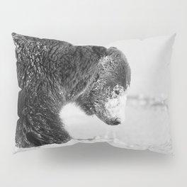 Alaskan Grizzly Bear in Snow, B & W - I Pillow Sham