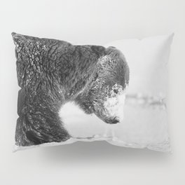 Alaskan Grizzly Bear in Snow, B & W - I Pillow Sham