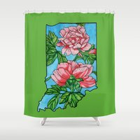 indiana Shower Curtains featuring Indiana Flower by mothermary