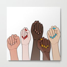 Fists Strong Women Fight Together For Equality  Metal Print