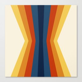 Bright 70's Retro Stripes Reflection Canvas Print