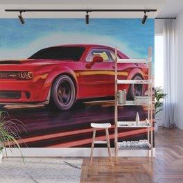 MOPAR Challenger Hellcat Demon Torred Painting by Jeanpaul Ferro Wall Mural