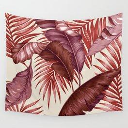 HAWAIIAN GARDEN TROPICAL LEAVES| burgundy ivory Wall Tapestry