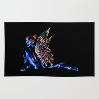 tinker bell Area & Throw Rugs featuring Tinker Bell - My Glowing Love for You by Chien-Yu Peng
