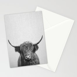 Highland Cow - Black & White Stationery Cards