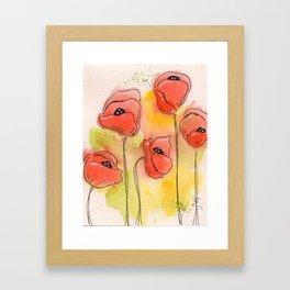 Coral Florals Framed Art Print