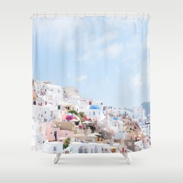 Pastel Colored View on Santorini Greece Shower Curtain