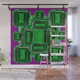 Emerald Gems May Babies Birthstones on Purple Wall Mural