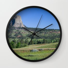 Photo USA Devils tower, Wyoming Crag Nature Hill Grass Trees Rock Cliff Wall Clock