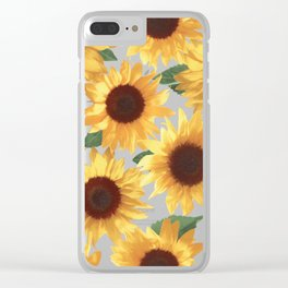 Happy Yellow Sunflowers Clear iPhone Case