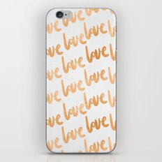 Valentines Day Copper Bronze Gold Love Word Typography Pattern iPhone & iPod Skin