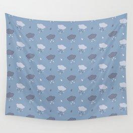 Rain Cloud Pattern in Blue Wall Tapestry