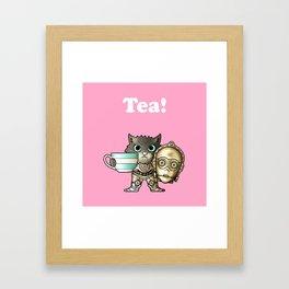 Tea C3PCat Pink Framed Art Print