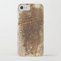 san francisco map iPhone & iPod Cases featuring Vintage Pictorial Map of San Francisco (1878)  by BravuraMedia