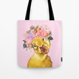 Yellow Duckling with Flowers Crown Tote Bag
