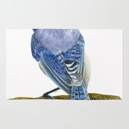 Blue jay watercolor Rug