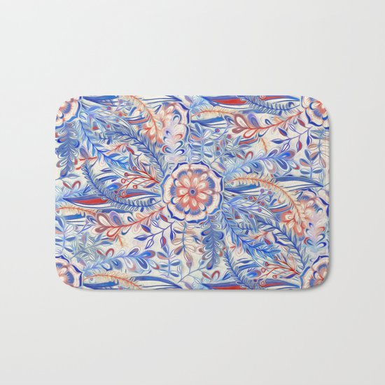 Boho Flower Burst in Red and Blue Bath Mat