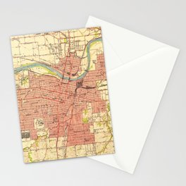 Vintage Map of Topeka Kansas (1951) Stationery Cards