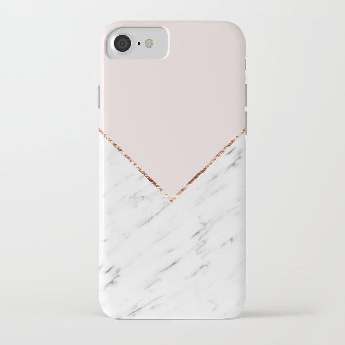 Peony blush geometric marble iPhone Case