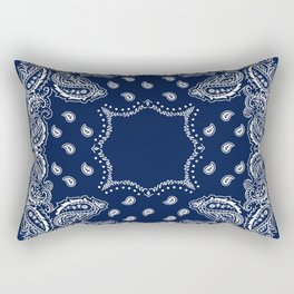 Bandana - Navy Blue - Boho Rectangular Pillow