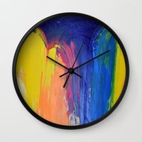 the strokes Wall Clocks featuring Strokes by Tony Vazquez