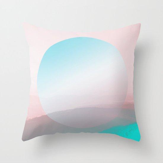 Modern Abstract Pink Blue Throw Pillow