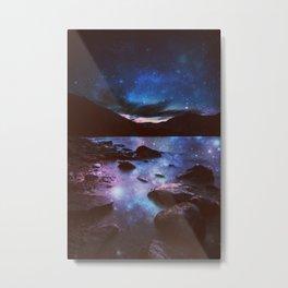 Magical Mountain Lake Deep Cool Tone Metal Print