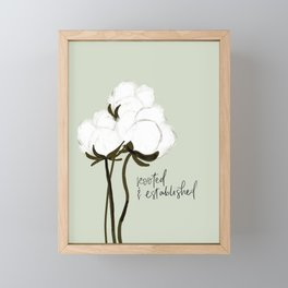 Rooted and Established Biblical Christian Faith in Jesus Cotton Flower Bud Southern Rustic Farmhouse Framed Mini Art Print