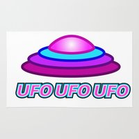 ufo Area & Throw Rugs featuring UFO UFO UFO by thomasalbany