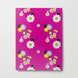 Floral Cats on Magenta Metal Print