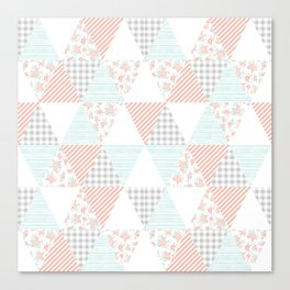 Quilt nursery cheater quilt minimal floral camping pattern modern color palette Canvas Print