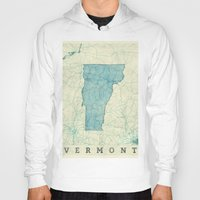 vermont Hoodies featuring Vermont State Map Blue Vintage by City Art Posters