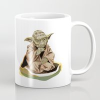 yoda Mugs featuring Yoda by Rocío Gómez
