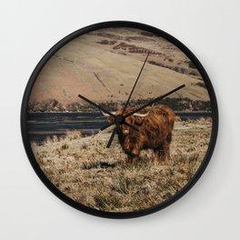 Scottish highland cattle vintage portrait landscap Wall Clock