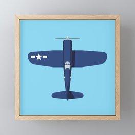 F4U Corsair WWII Fighter Aircraft - Blue Framed Mini Art Print