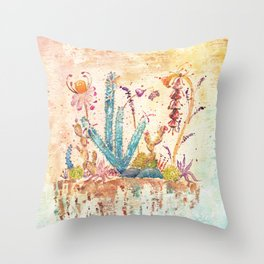 Blue Cactus and Landscape Watercolor Throw Pillow